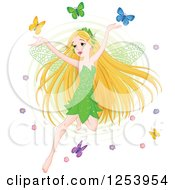 Clipart Of A Blond Spring Time Fairy Flying With Colorful Butterflies Royalty Free Vector Illustration by Pushkin