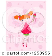 Clipart Of A Strawberry Fairy Girl Over Pink Royalty Free Vector Illustration by Pushkin
