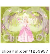 Blond Princess In The Woods With Pink Butterflies