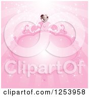 Clipart Of A Pink Princess Frame With A Heart Diamond And Rays Royalty Free Vector Illustration by Pushkin
