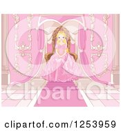 Clipart Of A Blond Princess Sitting At A Pink Throne Royalty Free Vector Illustration by Pushkin