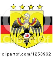 Clipart Of Stars Over An Eagle With A Medal And Soccer Ball On A German Flag Royalty Free Vector Illustration
