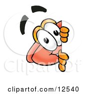 Sink Plunger Mascot Cartoon Character Peeking Around A Corner by Toons4Biz