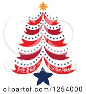 Clipart Of A Merry Christmas Greeting And Red And Blue Star Tree Royalty Free Vector Illustration