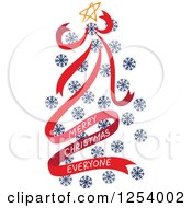 Clipart Of A Merry Christmas Everyone Greeting And Red And Blue Snowflake Tree Royalty Free Vector Illustration