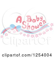 A Baby Shower Text Over A Blue And Pink Bow And Flowers