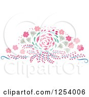 Clipart Of A Pink And Green Spring Flower Design Element Royalty Free Vector Illustration