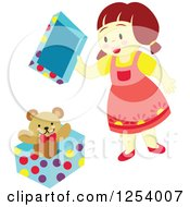 Clipart Of A Brunette Girl Opening A Teddy Bear Gift Royalty Free Vector Illustration by Cherie Reve