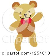 Clipart Of A Happy Teddy Bear Waving And Wearing A Red Bow Royalty Free Vector Illustration by Cherie Reve
