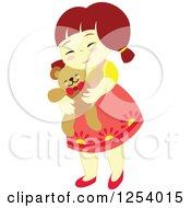 Clipart Of A Brunette Girl Hugging A Teddy Bear Royalty Free Vector Illustration by Cherie Reve