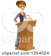 Clipart Of A Brunette Caucasian Businesswoman Giving A Speech At A Podium Royalty Free Vector Illustration by Amanda Kate #COLLC1254024-0177