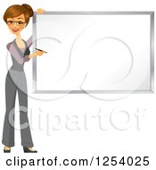 Clipart Of A Brunette Caucasian Businesswoman Writing On A White Board Royalty Free Vector Illustration