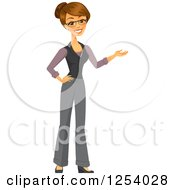 Clipart Of A Brunette Caucasian Businesswoman Presenting Royalty Free Vector Illustration