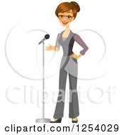 Brunette Caucasian Businesswoman Talking Into A Microphone