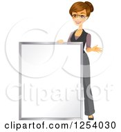 Brunette Caucasian Businesswoman Standing By A Blank Sign