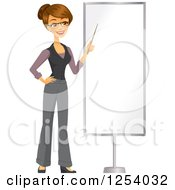 Clipart Of A Brunette Caucasian Businesswoman Pointing To A Blank Display Royalty Free Vector Illustration