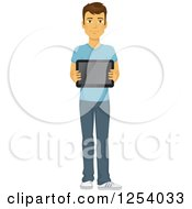 Clipart Of A Casual Brunette Caucasian Man Holding A Tablet Computer Royalty Free Vector Illustration