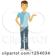 Clipart Of A Casual Brunette Caucasian Man Presenting Royalty Free Vector Illustration