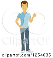 Clipart Of A Casual Brunette Caucasian Man Pointing Royalty Free Vector Illustration