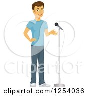 Clipart Of A Casual Brunette Caucasian Man Talking In To A Microphone Royalty Free Vector Illustration