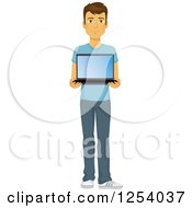 Clipart Of A Casual Brunette Caucasian Man Holding A Laptop Royalty Free Vector Illustration
