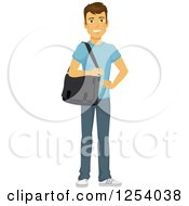 Clipart Of A Casual Brunette Caucasian Man Carrying A Laptop Bag Royalty Free Vector Illustration