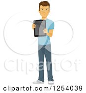 Clipart Of A Casual Brunette Caucasian Man Holding Out A Tablet Computer Royalty Free Vector Illustration