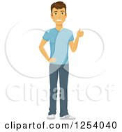 Clipart Of A Casual Brunette Caucasian Man Holding A Thumb Up Royalty Free Vector Illustration
