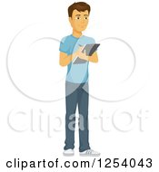 Clipart Of A Casual Brunette Caucasian Man Writing On A Clipboard Royalty Free Vector Illustration