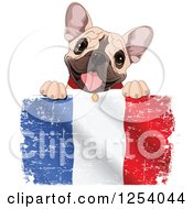 Clipart Of A Cute French Bulldog Panting Over A Distressed British Flag Royalty Free Vector Illustration