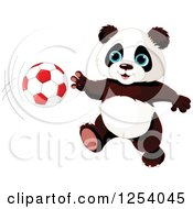 Clipart Of A Cute Panda Playing Soccer Royalty Free Vector Illustration by Pushkin