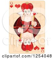 Clipart Of A Distressed Queen Of Hearts Playing Card Royalty Free Vector Illustration by Pushkin