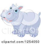 Clipart Of A Cute Happy Blue Eyed Hippopotamus Royalty Free Vector Illustration