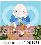 Clipart Of Humpty Dumpty The Egg Sitting On A Wall Royalty Free Vector Illustration by Pushkin