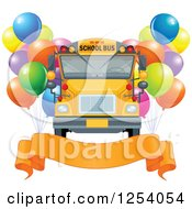 Clipart Of A School Bus With Party Balloons And A Banner Royalty Free Vector Illustration by Pushkin