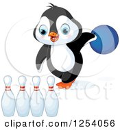 Clipart Of A Cute Penguin Bowling Royalty Free Vector Illustration
