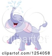 Clipart Of A Cute Purple Elephant Squirting Water From His Trunk Royalty Free Vector Illustration by Pushkin
