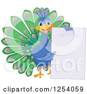 Clipart Of A Cute Happy Peacock Holding A Blank Sign Royalty Free Vector Illustration
