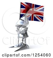 Clipart Of A 3d Medieval Knight Gesturing Stop And Holding A British Flag Royalty Free Illustration