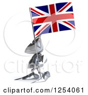 Clipart Of A 3d Medieval Knight Walking With A British Flag Royalty Free Illustration