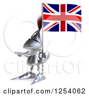 Clipart Of A 3d Medieval Knight Pointing And Holding A British Flag Royalty Free Illustration