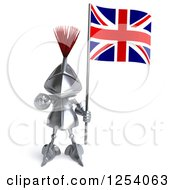 Clipart Of A 3d Medieval Knight Pointing And Holding A British Flag 2 Royalty Free Illustration