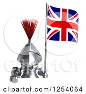 Clipart Of A 3d Medieval Knight Holding A British Flag Over A Sign Royalty Free Illustration