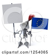 Clipart Of A 3d Medieval Knight Holding A Europe Flag And Blank Flag Royalty Free Illustration