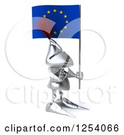 Clipart Of A 3d Medieval Knight Gesturing Stop And Holding A Europe Flag Royalty Free Illustration