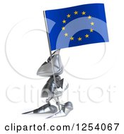 Clipart Of A 3d Medieval Knight Holding A Europe Flag Royalty Free Illustration