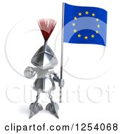 Clipart Of A 3d Medieval Knight Pointing And Holding A Europe Flag Royalty Free Illustration