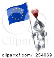 Clipart Of A 3d Medieval Knight Holding A Europe Flag Around A Sign Royalty Free Illustration