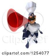 Clipart Of A 3d White And Blue Caucasian Male Super Chef Announcing With A Megaphone 2 Royalty Free Illustration