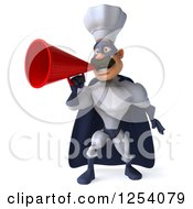 Clipart Of A 3d White And Blue Caucasian Male Super Chef Announcing With A Megaphone Royalty Free Illustration